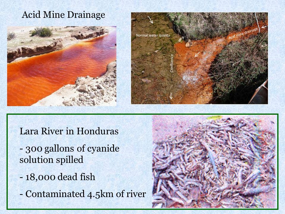Lara River in Honduras - 300 gallons of cyanide solution spilled - 18,000 dead fish - Contaminated 4.5km of river Acid Mine Drainage