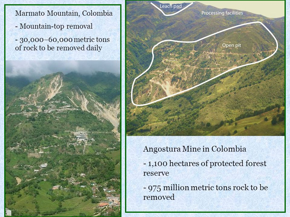 Marmato Mountain, Colombia - Mountain-top removal - 30,000–60,000 metric tons of rock to be removed daily Angostura Mine in Colombia - 1,100 hectares