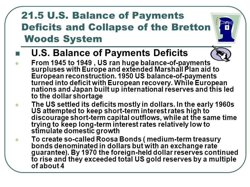 21.5 U.S. Balance of Payments Deficits and Collapse of the Bretton Woods System U.S. Balance of Payments Deficits From 1945 to 1949, US ran huge balan