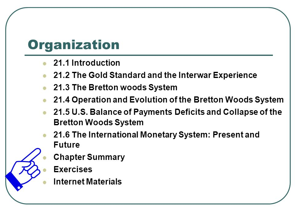 21.1 Introduction Content Introduction This chapter examines the operation of the international monetary system from the gold standard period to the present Concept An international monetary system (sometimes referred to as an international monetary order or regime) refers to the rules, customs, instruments, facilities, and organizations for effecting international payments