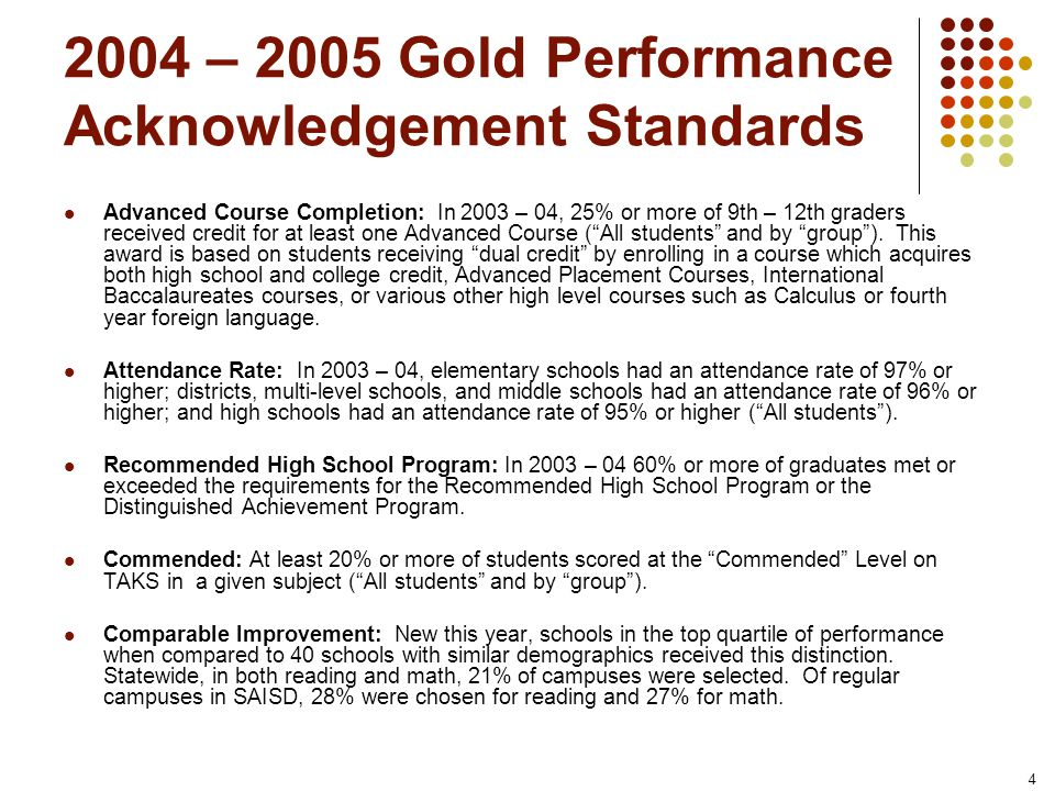 4 2004 – 2005 Gold Performance Acknowledgement Standards Advanced Course Completion: In 2003 – 04, 25% or more of 9th – 12th graders received credit for at least one Advanced Course (All students and by group).