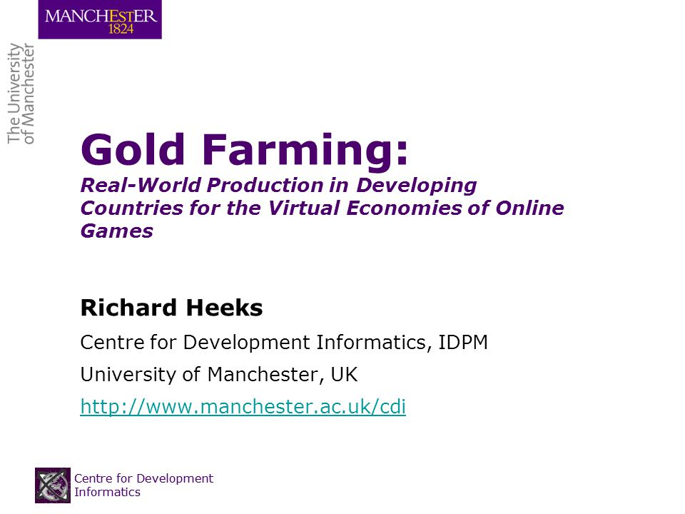 Background to Gold Farming Production for real-world trade of virtual goods and services within online games MMORPGs: massively-multiplayer online role-playing game (World of Warcraft, Runescape, Eve Online, Lineage)