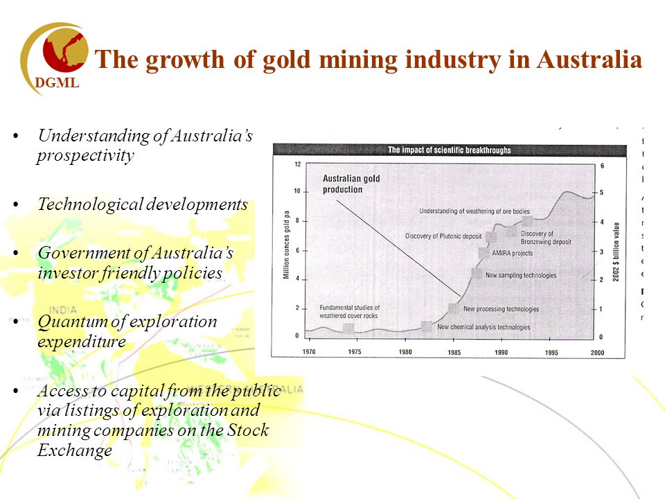 DGML The growth of gold mining industry in Australia Understanding of Australias prospectivity Technological developments Government of Australias investor friendly policies Quantum of exploration expenditure Access to capital from the public via listings of exploration and mining companies on the Stock Exchange