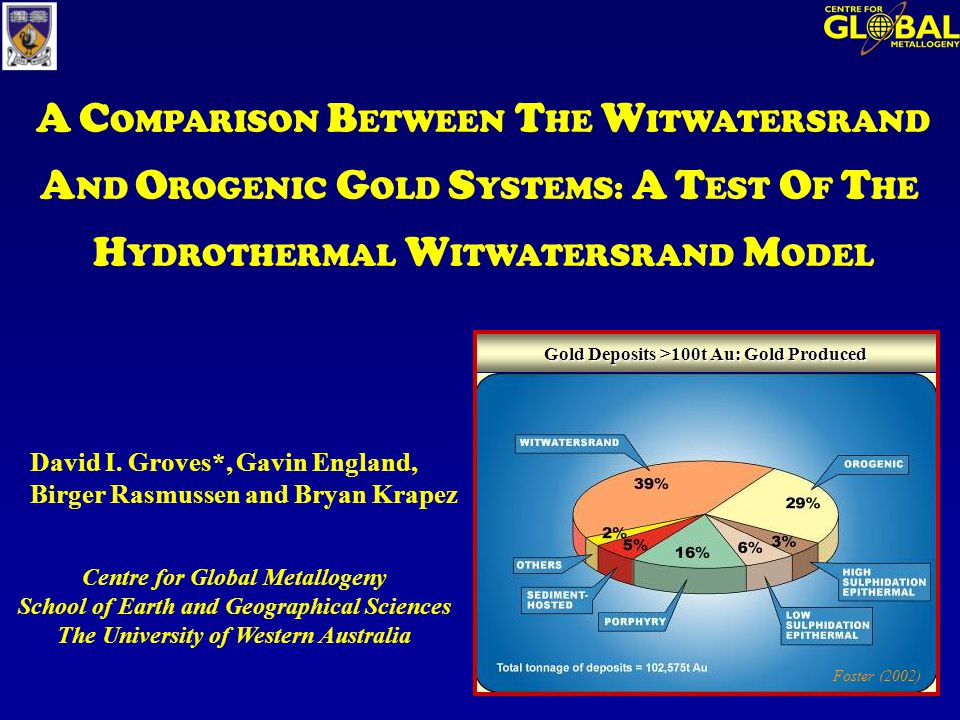 Centre for Global Metallogeny School of Earth and Geographical Sciences The University of Western Australia A C OMPARISON B ETWEEN T HE W ITWATERSRAND A ND O ROGENIC G OLD S YSTEMS: A T EST O F T HE H YDROTHERMAL W ITWATERSRAND M ODEL David I.