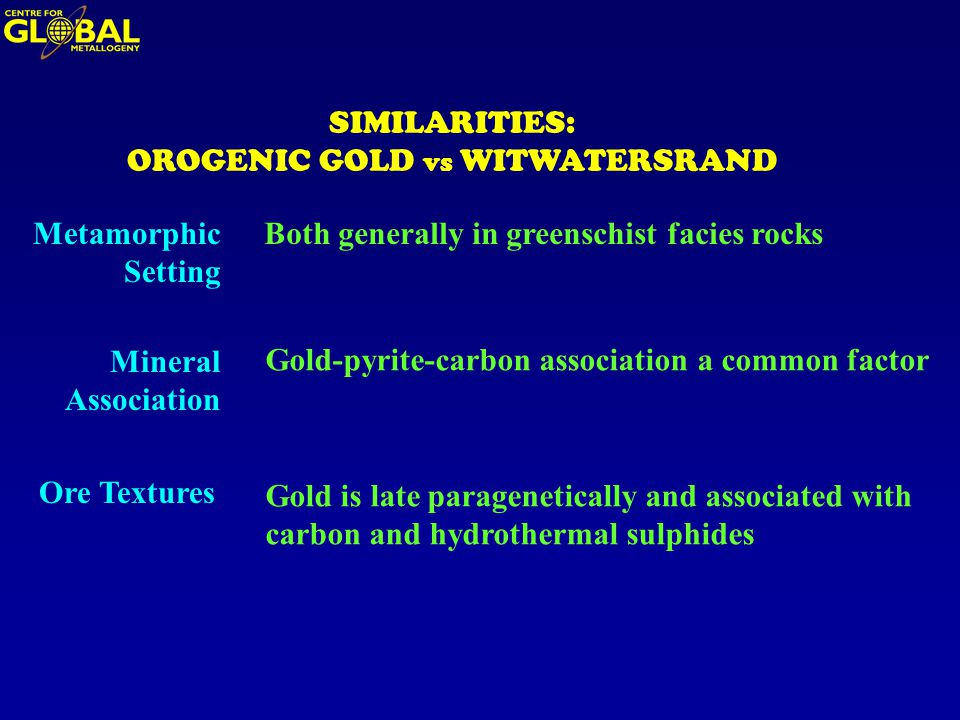 SIMILARITIES: OROGENIC GOLD vs WITWATERSRAND Metamorphic Setting Both generally in greenschist facies rocks Mineral Association Gold-pyrite-carbon association a common factor Ore Textures Gold is late paragenetically and associated with carbon and hydrothermal sulphides