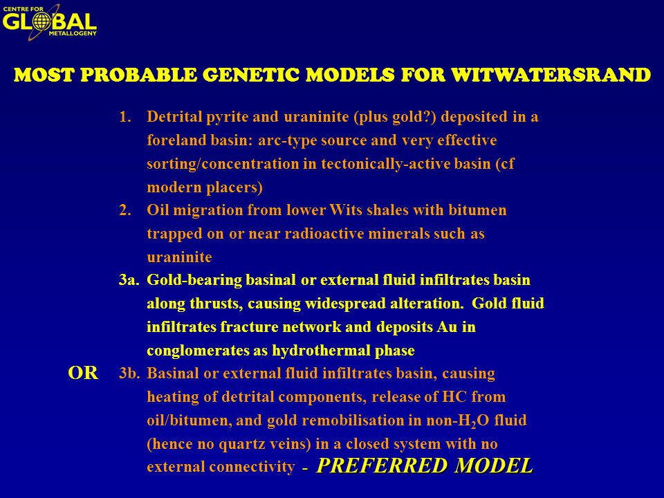 MOST PROBABLE GENETIC MODELS FOR WITWATERSRAND 1.