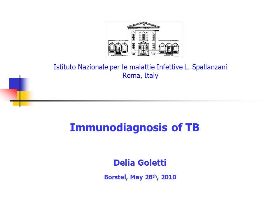 Istituto Nazionale per le malattie Infettive L. Spallanzani Roma, Italy Immunodiagnosis of TB Delia Goletti Borstel, May 28 th, 2010