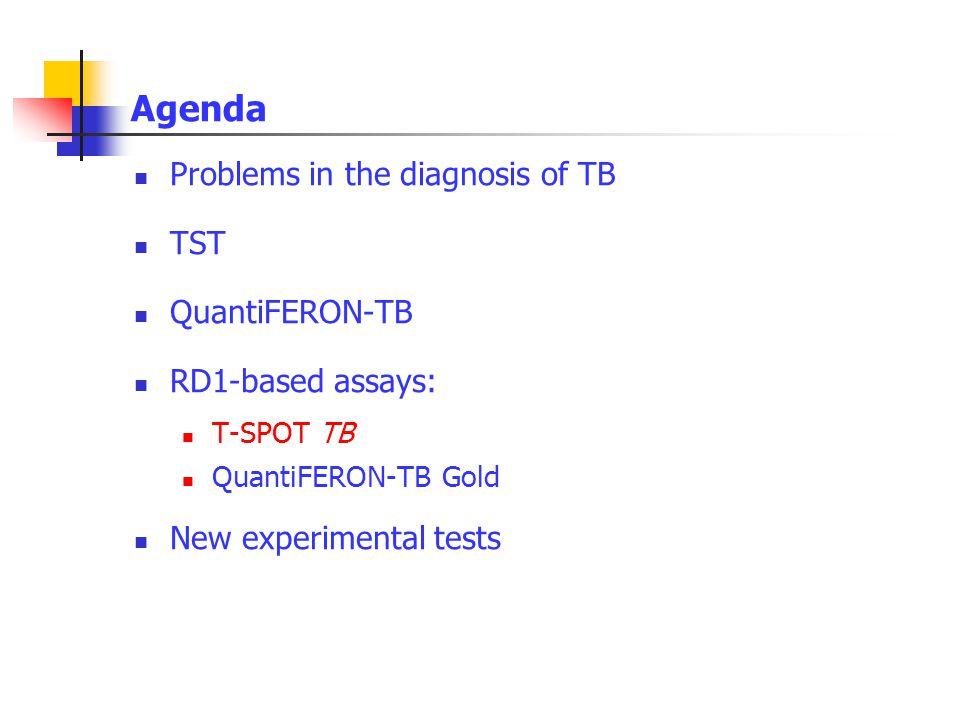 Agenda Problems in the diagnosis of TB TST QuantiFERON-TB RD1-based assays: T-SPOT TB QuantiFERON-TB Gold New experimental tests