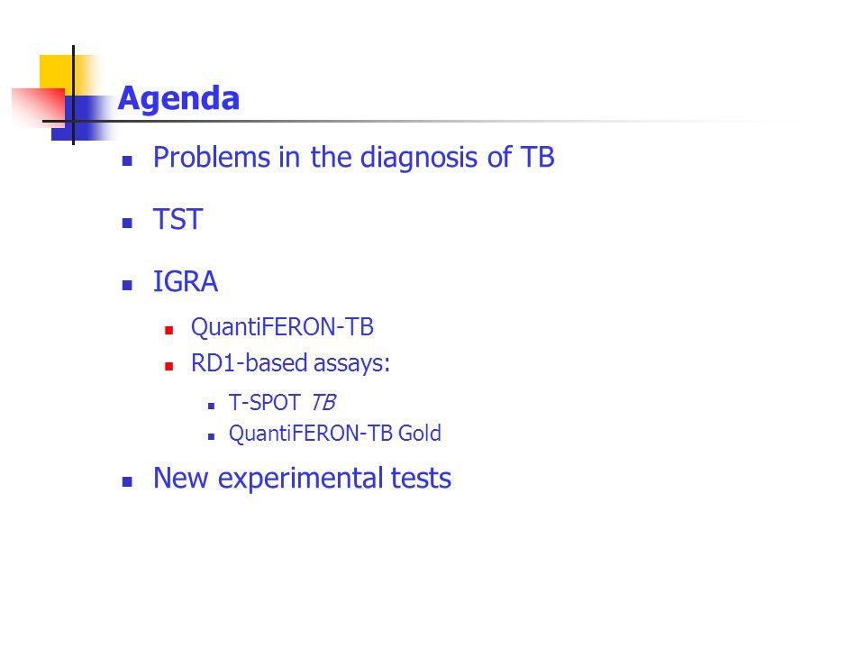 Agenda Problems in the diagnosis of TB TST IGRA QuantiFERON-TB RD1-based assays: T-SPOT TB QuantiFERON-TB Gold New experimental tests