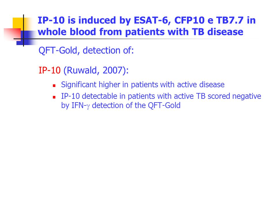 IP-10 is induced by ESAT-6, CFP10 e TB7.7 in whole blood from patients with TB disease QFT-Gold, detection of: IP-10 (Ruwald, 2007): Significant highe