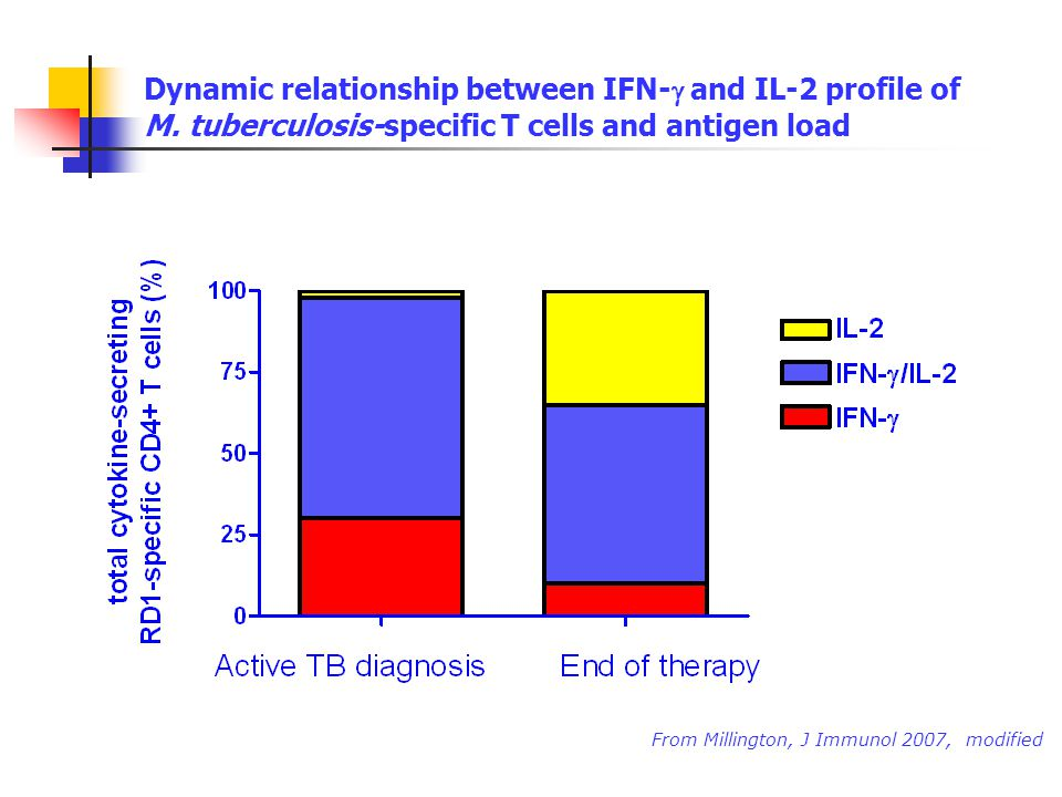 Dynamic relationship between IFN- and IL-2 profile of M. tuberculosis-specific T cells and antigen load From Millington, J Immunol 2007, modified