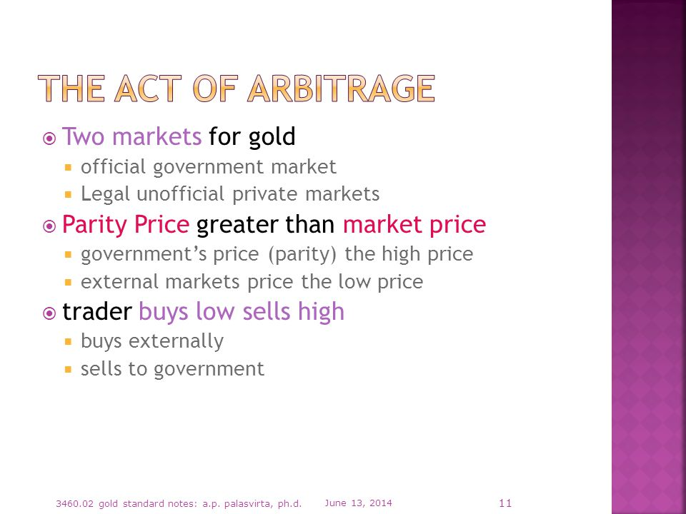 Two markets for gold official government market Legal unofficial private markets Parity Price greater than market price governments price (parity) the high price external markets price the low price trader buys low sells high buys externally sells to government June 13, 2014 3460.02 gold standard notes: a.p.