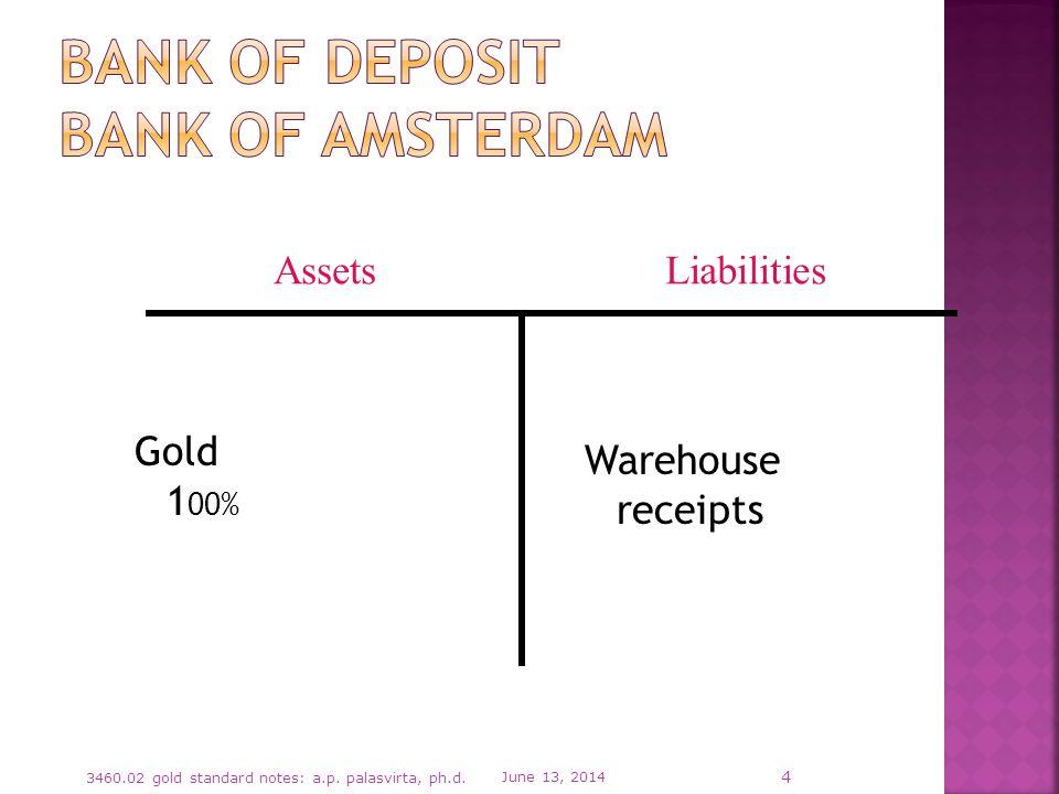 Gold 1 00% Warehouse receipts June 13, 2014 3460.02 gold standard notes: a.p.