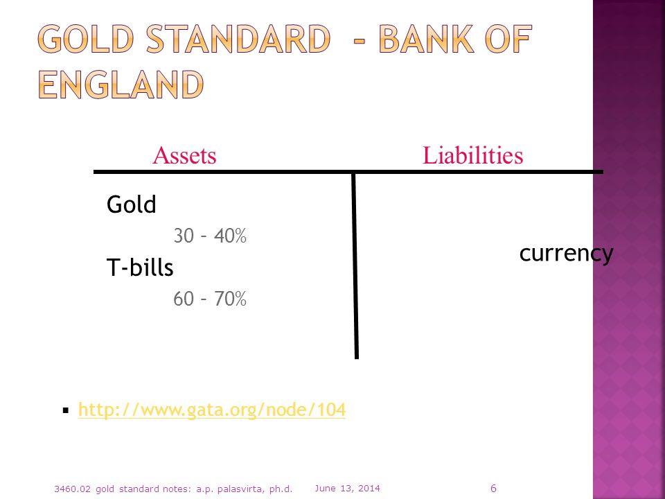 Gold 30 – 40% T-bills 60 – 70% http://www.gata.org/node/104 June 13, 2014 3460.02 gold standard notes: a.p.
