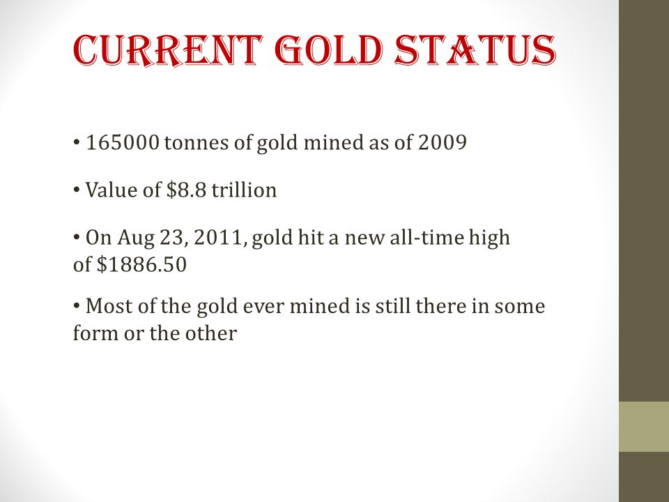 Current Gold Status 165000 tonnes of gold mined as of 2009 Value of $8.8 trillion On Aug 23, 2011, gold hit a new all-time high of $1886.50 Most of the gold ever mined is still there in some form or the other