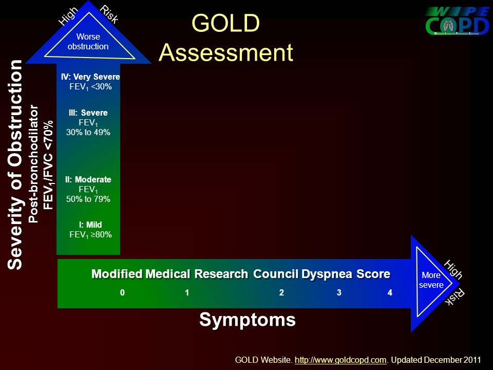 GOLD Assessment Worse obstruction GOLD Website.