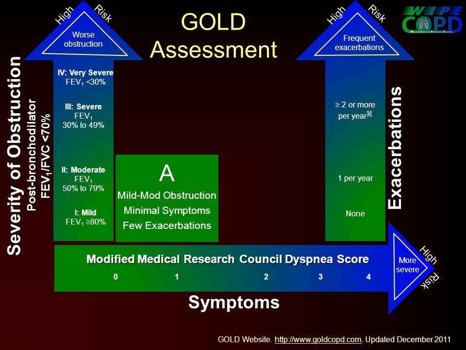 GOLD Assessment Worse obstruction I: Mild FEV 1 80% II: Moderate FEV 1 50% to 79% More severe Exacerbations 1 per year Frequent exacerbations A Mild-Mod Obstruction Minimal Symptoms Few Exacerbations None High Risk Symptoms 0 1 2 3 4 Modified Medical Research Council Dyspnea Score Severity of Obstruction Post-bronchodilator FEV 1 /FVC <70% GOLD Website.