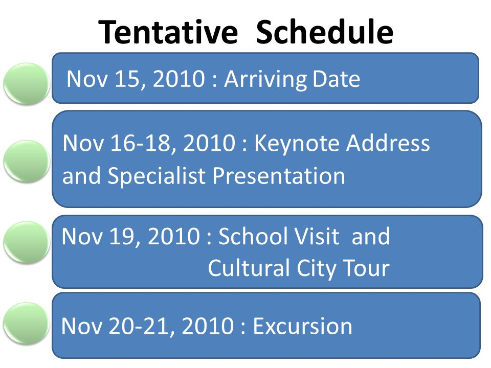 Tentative Schedule Nov 15, 2010 : Arriving Date Nov 16-18, 2010 : Keynote Address and Specialist Presentation Nov 19, 2010 : School Visit and Cultural City Tour Nov 20-21, 2010 : Excursion