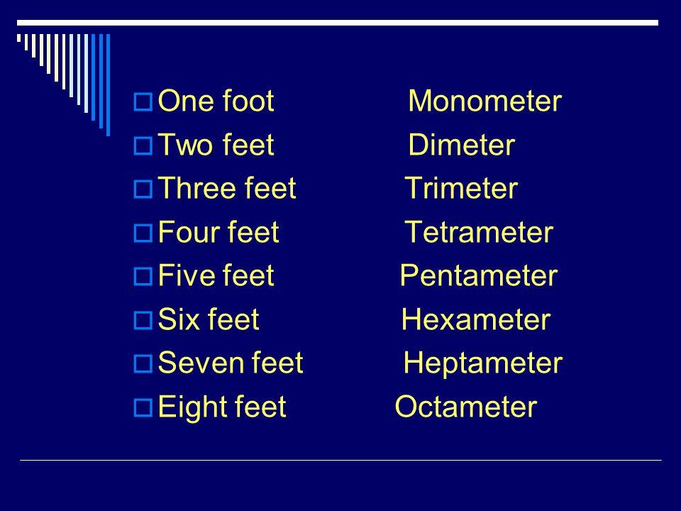 One foot Monometer Two feet Dimeter Three feet Trimeter Four feet Tetrameter Five feet Pentameter Six feet Hexameter Seven feet Heptameter Eight feet