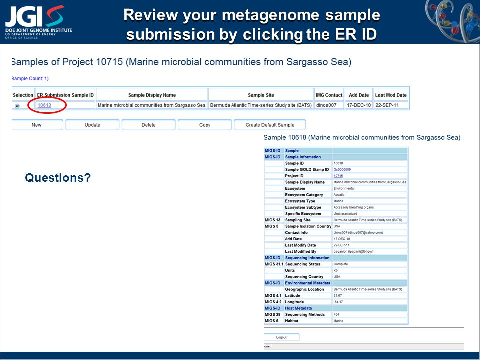 Review your metagenome sample submission by clicking the ER ID Questions