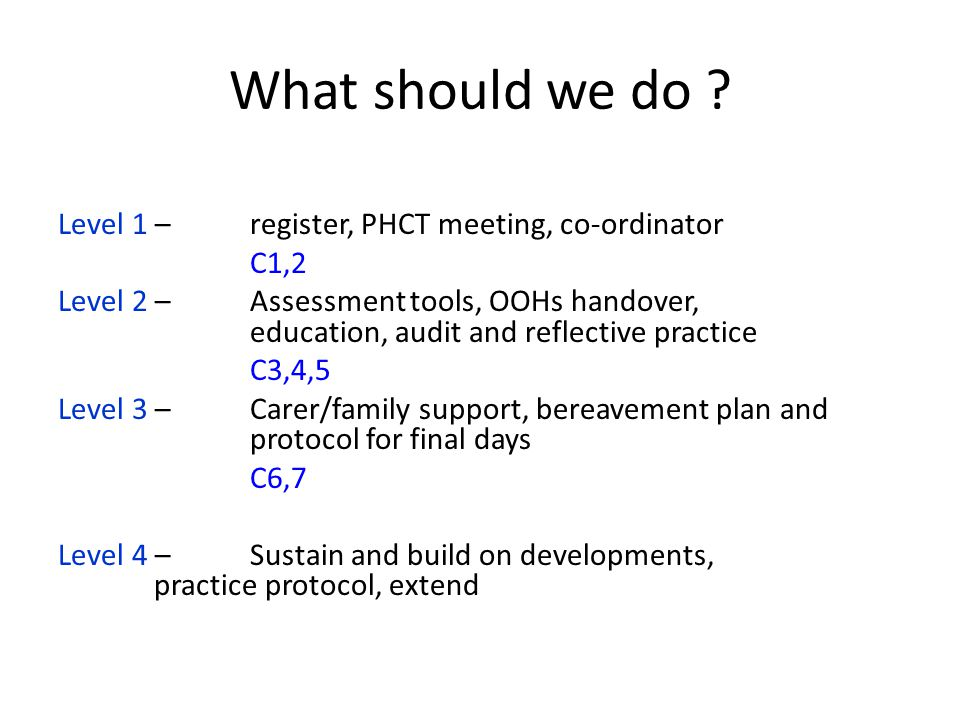 What should we do ? Level 1 – register, PHCT meeting, co-ordinator C1,2 Level 2 – Assessment tools, OOHs handover, education, audit and reflective pra