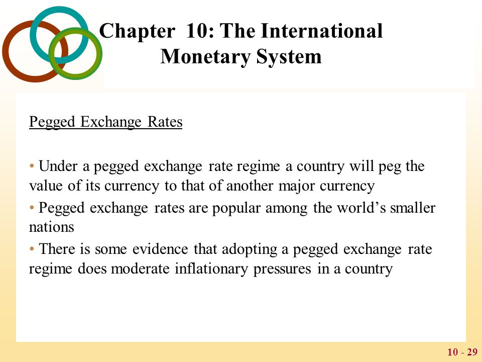 10 - 30 Chapter 10: The International Monetary System Currency Boards A country that introduces a currency board commits itself to converting its domestic currency on demand into another currency at a fixed exchange rate To make this commitment credible, the currency board holds reserves of foreign currency equal at the fixed exchange rate to at least 100% of the domestic currency issued