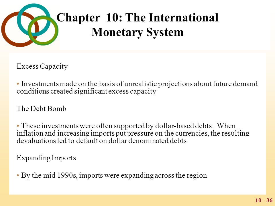10 - 37 Chapter 10: The International Monetary System The Crisis By mid-1997, it became clear that several key Thai financial institutions were on the verge of default Foreign exchange dealers and hedge funds started to speculate against the Baht, selling it short After struggling to defend the peg, the Thai government abandoned its defense and announced that the Baht would float freely against the dollar