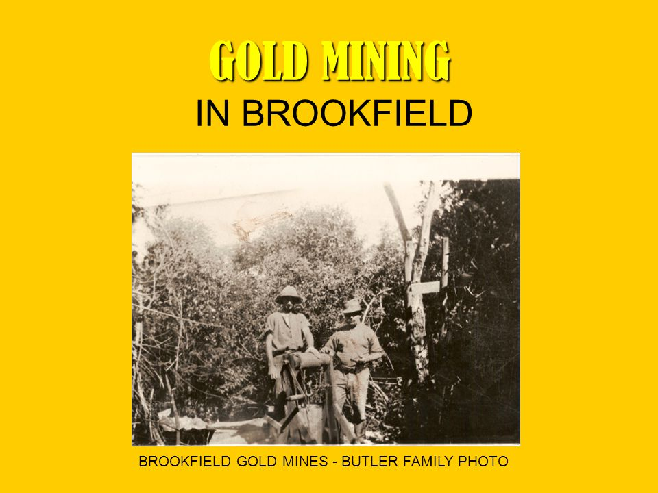 GOLD MINING GOLD MINING IN BROOKFIELD BROOKFIELD GOLD MINES - BUTLER FAMILY PHOTO