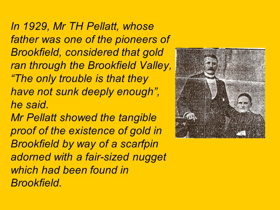In 1929, Mr TH Pellatt, whose father was one of the pioneers of Brookfield, considered that gold ran through the Brookfield Valley,The only trouble is