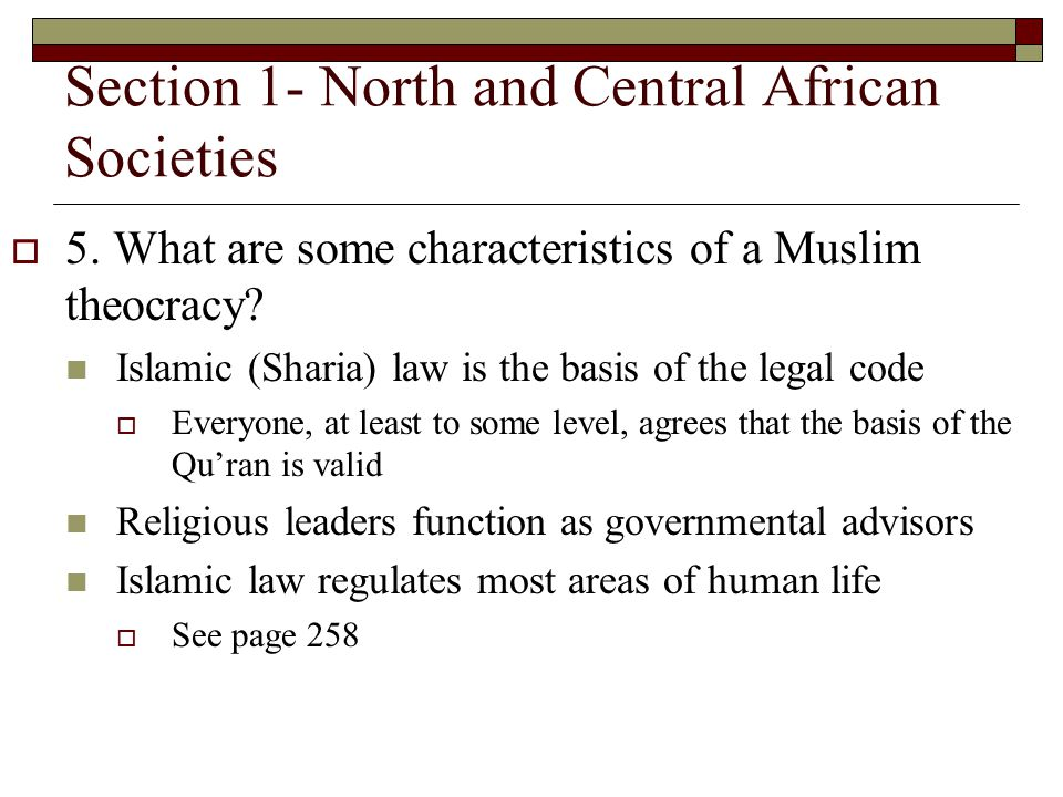 Section 1- North and Central African Societies 5.