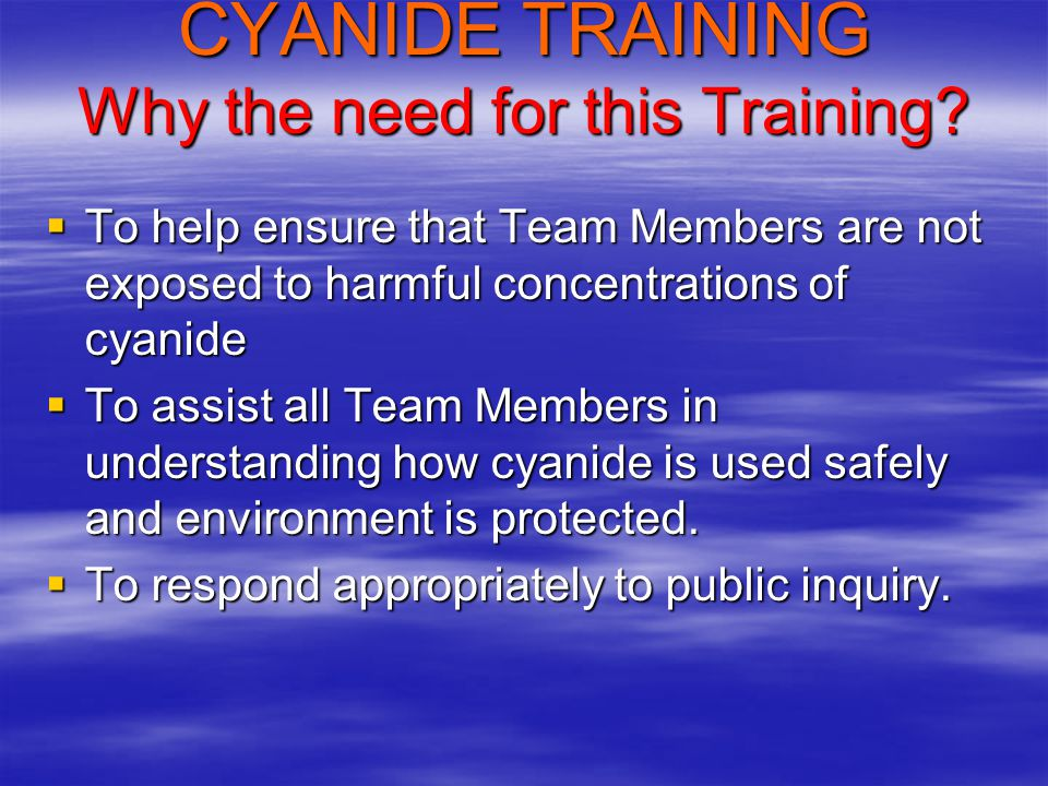 Cyanide has many uses, one of which is the dissolution of metals from rock (Uses Aerated, Alkaline Cyanide Solution) 2 Au + 4 CN - + O 2 + 2 H 2 O ==> 2 Au(CN) 2 - + H 2 O 2 + 2 OH - and 2 Au + 4 CN - + O 2 + 2 H 2 O ==> 2 Au(CN) 2 - + 2 OH - Same reaction but a more recent view (calcium included): 2 Au + 4 CN - + O 2 + 2 H 2 O ==> 2 Ca + [Au(CN) 2 - ] + H 2 O 2 + 2 OH - Why Use CN.