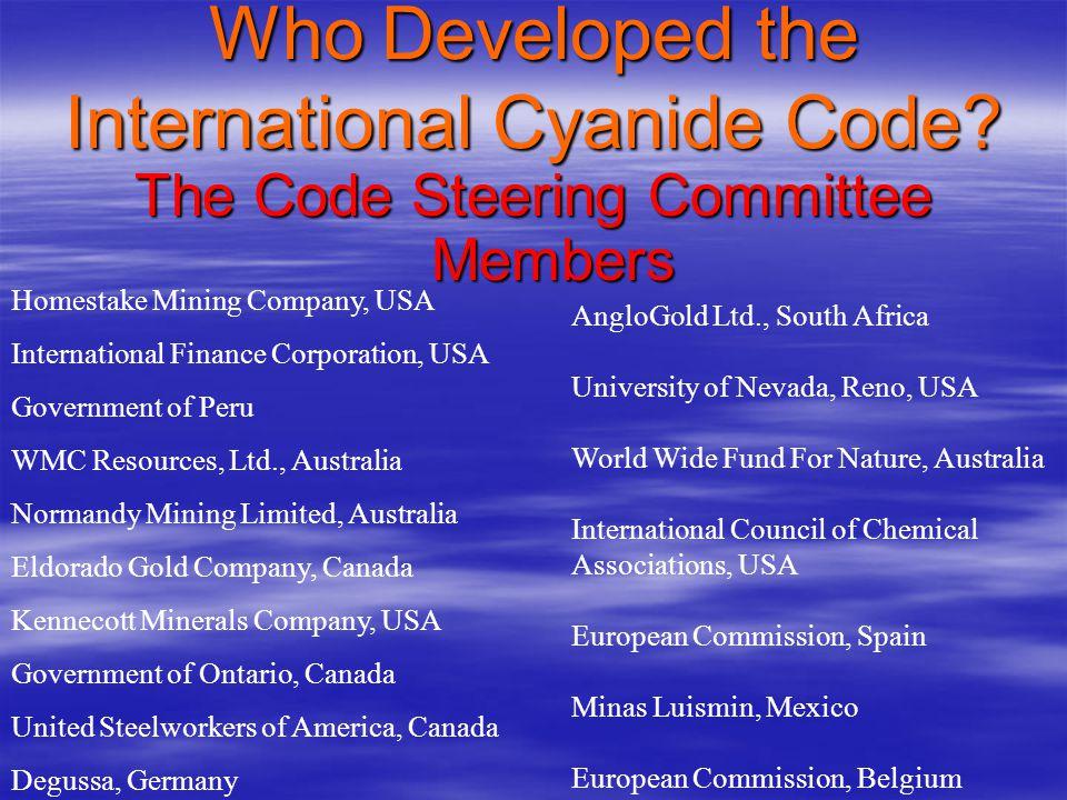 Who Developed the International Cyanide Code.