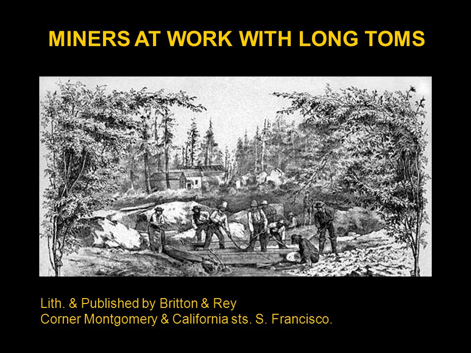 MINERS AT WORK WITH LONG TOMS Lith.