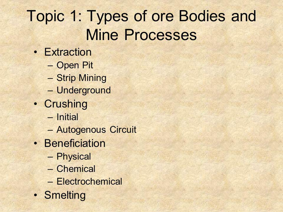 Topic 1: Types of ore Bodies and Mine Processes Extraction –Open Pit –Strip Mining –Underground Crushing –Initial –Autogenous Circuit Beneficiation –P