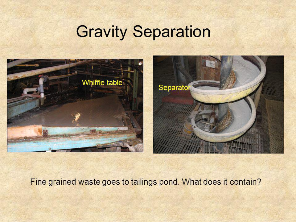 Gravity Separation Whiffle table Separator Fine grained waste goes to tailings pond. What does it contain?