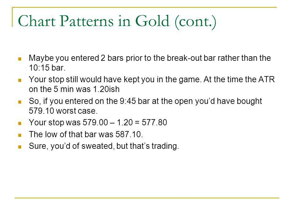 Chart Patterns in Gold (cont.) Maybe you entered 2 bars prior to the break-out bar rather than the 10:15 bar. Your stop still would have kept you in t