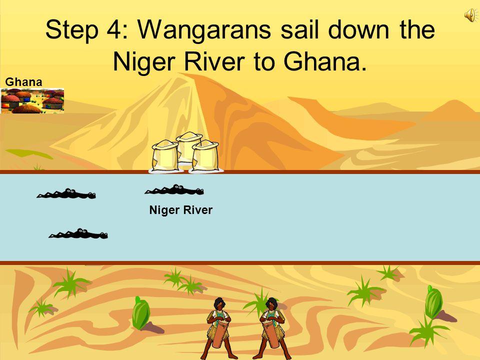 Step 4: Wangarans sail down the Niger River to Ghana. Niger River Ghana