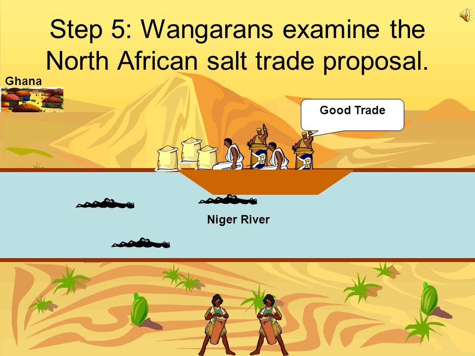 Step 5: Wangarans examine the North African salt trade proposal. Good Trade Niger River Ghana