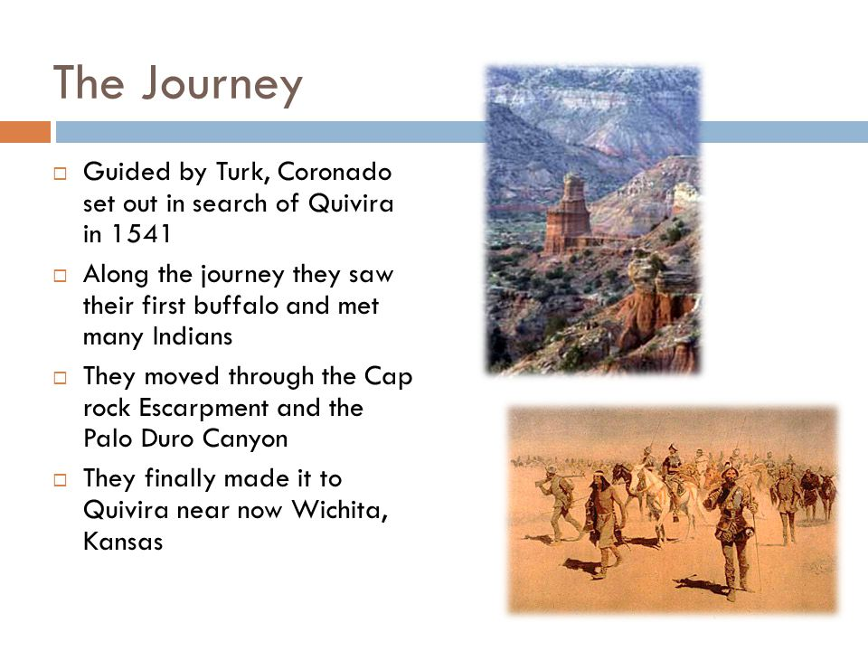 The Journey Guided by Turk, Coronado set out in search of Quivira in 1541 Along the journey they saw their first buffalo and met many Indians They mov