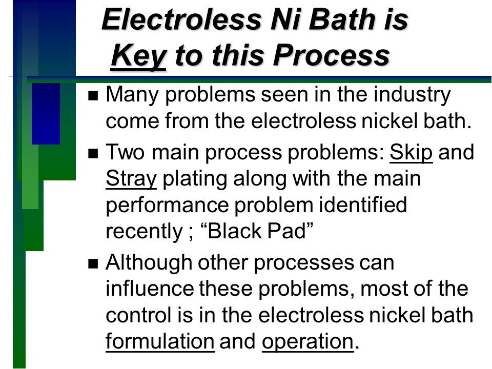 Electroless Nickel Bath Ingredients Electroless Nickel Bath Ingredients n NICKEL n REDUCING AGENT COMPLEXERS COMPLEXERS n ADDITIVES STABILIZERS STABILIZERS