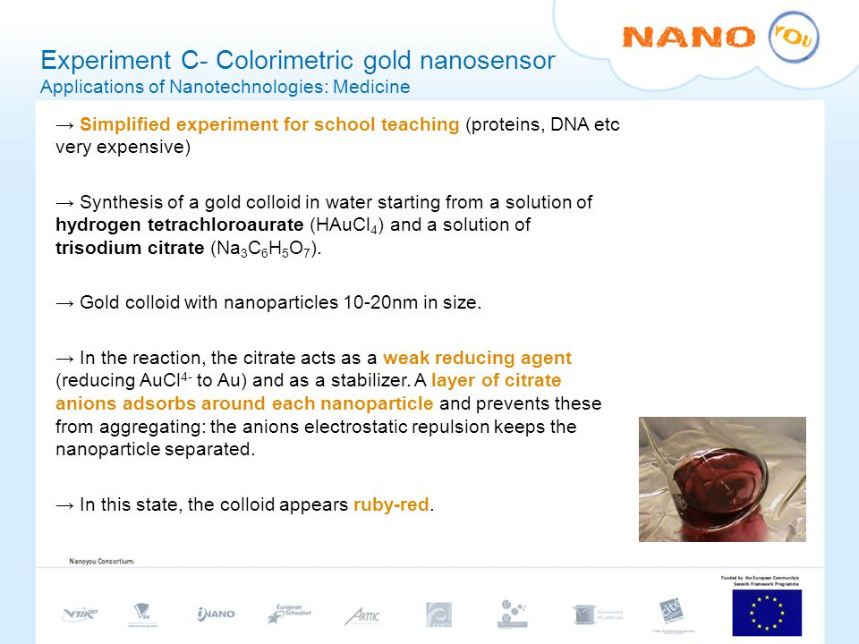 Experiment C- Colorimetric gold nanosensor Applications of Nanotechnologies: Medicine Simplified experiment for school teaching (proteins, DNA etc very expensive) Synthesis of a gold colloid in water starting from a solution of hydrogen tetrachloroaurate (HAuCl 4 ) and a solution of trisodium citrate (Na 3 C 6 H 5 O 7 ).
