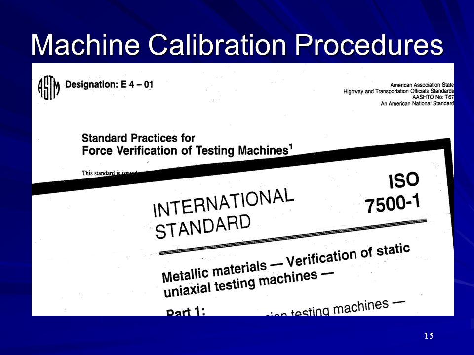 15 Machine Calibration Procedures