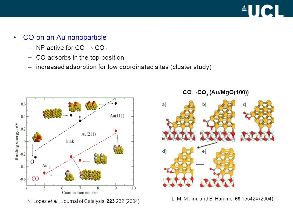 CO on an Au nanoparticle –NP active for CO CO 2 –CO adsorbs in the top position –increased adsorption for low coordinated sites (cluster study) N.