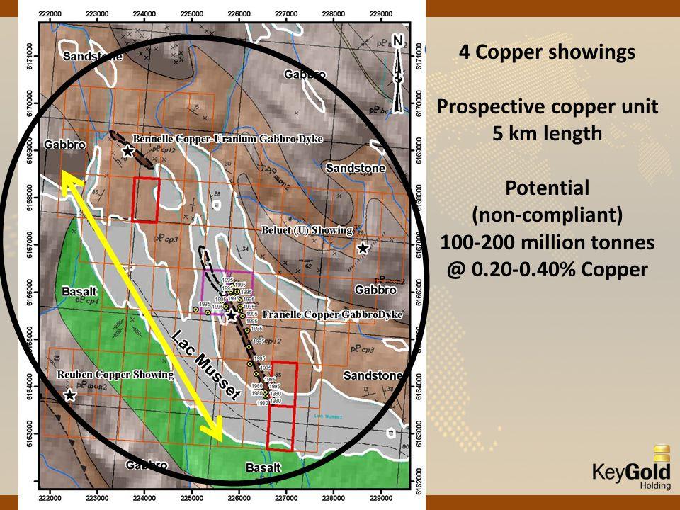 4 Copper showings Prospective copper unit 5 km length Potential (non-compliant) 100-200 million tonnes @ 0.20-0.40% Copper