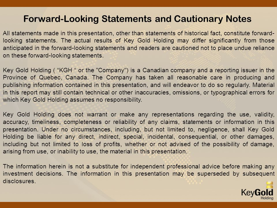 Forward-Looking Statements and Cautionary Notes All statements made in this presentation, other than statements of historical fact, constitute forward- looking statements.