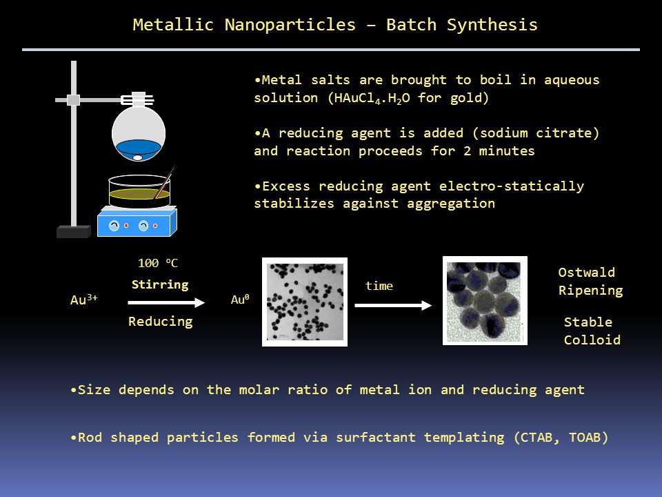 Metallic Nanoparticles Size and geometry tunable (2.5 – 65 nm) Very expensive to buy (spheres), relatively cheap and easy to make Gold (spheres) Gold (Rods) Photo-physics??