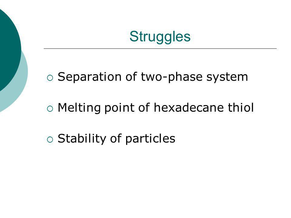Struggles Separation of two-phase system Melting point of hexadecane thiol Stability of particles