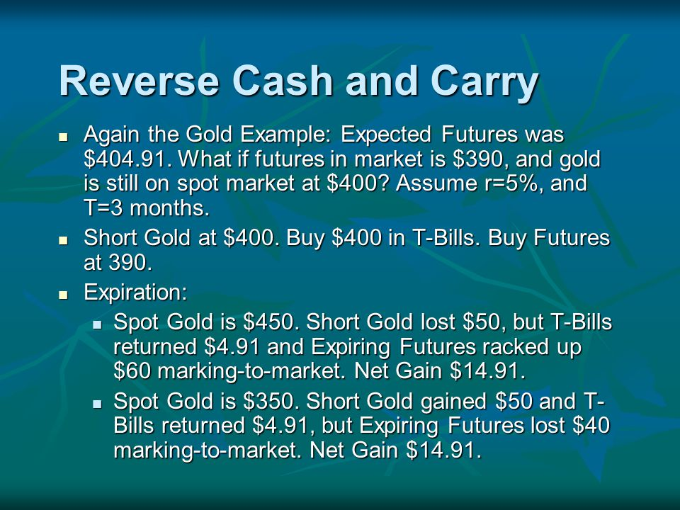 Reverse Cash and Carry Again the Gold Example: Expected Futures was $