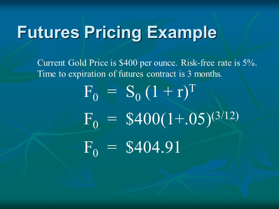 Cash and Carry Back to Gold Example: Expected Futures was $404.91.