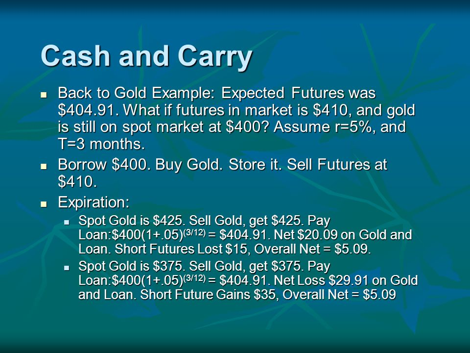 Cash and Carry Back to Gold Example: Expected Futures was $
